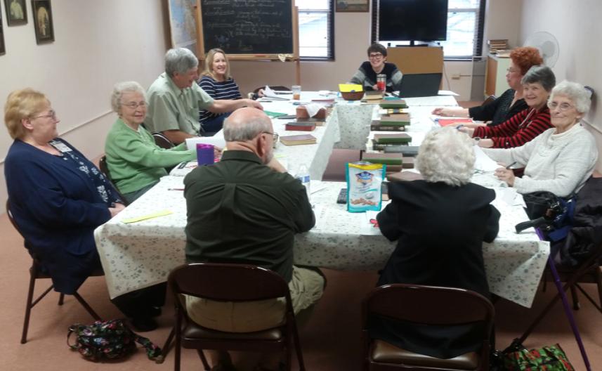 Karen Tutak in back. Left to right: Pat Adrian, Beverly Pace, Shirley DeWalt, Dorothy Tapscott, Jim Davis, Virginia Lee, Evelyn Chapman, Tom Palmer and Kathy Lassiter.