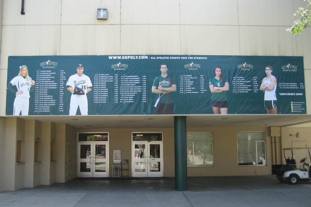 VINYL BANNERS - Cal Poly has large schedule banners printed every season and you can see how detailed these vinyl banners can be. If you have a large area to cover or just have a lot to say, our vinyl banners can be made to fit your exact needs.
