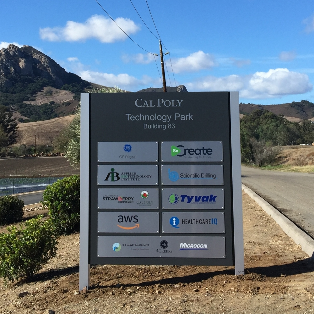 JANUARY 2018   If you haven't had a chance to visit the technology park on the Cal Poly campus, now is the time! We just completed this large, new directory featuring all of the tenant logos. This is a non-lit aluminum structure with brushed silver panels and silver stand offs for a professional look. The individuals panels allow for an easier transition between tenants as they come and go. Thanks Cal Poly Tech Park!