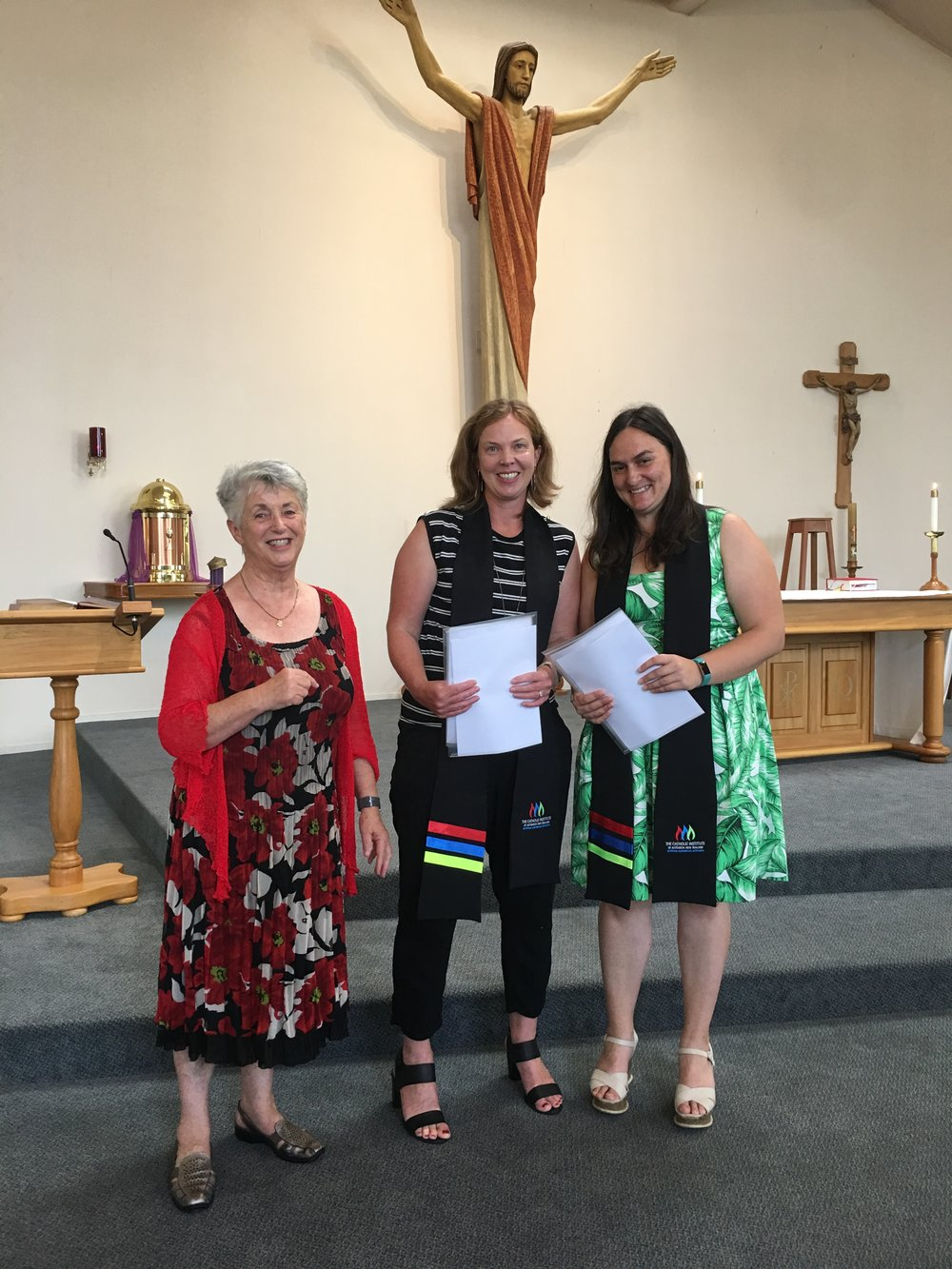 Recent Catholic Institute Graduates Erin Clayton (right) and Rhonda McFarlane (middle) with Cynthia Piper from the Catholic Institute.