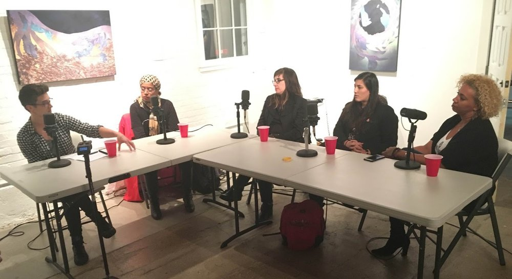 The panel, from left to right: Emily Mills, Martha White, Lili Luxe, Sarah Akawa, and Dana Pellebon.