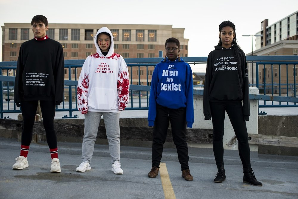The author, far left, participating in an Insert Apparel photoshoot. Photo by Morgan Winston.