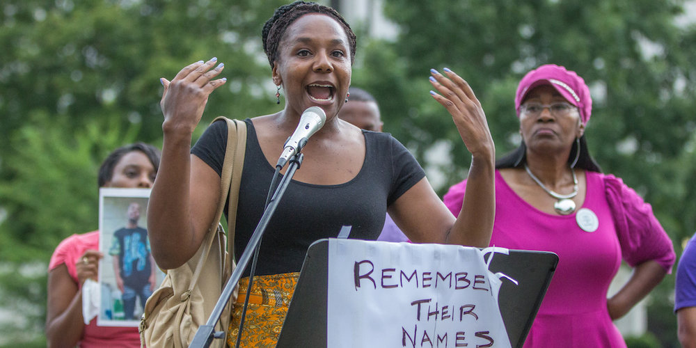 Bree Newsome (shown here speaking in Charlotte, North Carolina in July) will give an October 11 talk at the UW-Madison Multicultural Student Center. Photo by Grant Baldwin on Flickr.