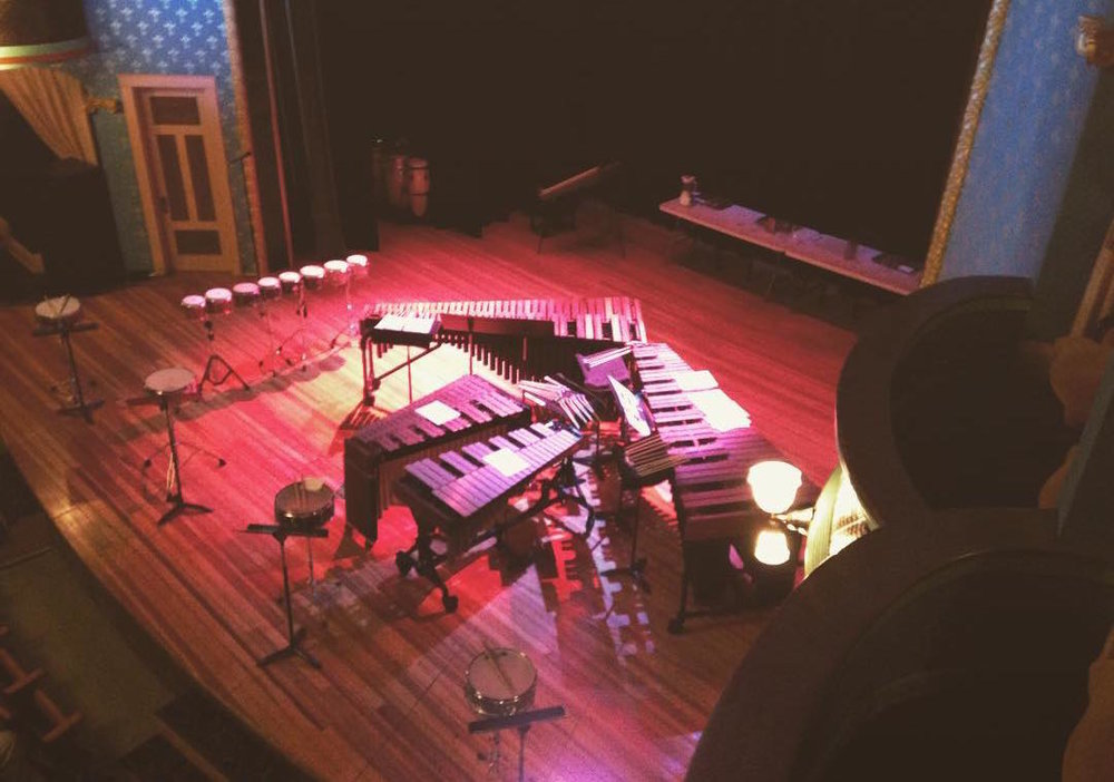 Madison percussion ensemble Clocks In Motion's stage setup for its February 2016 show at the Stoughton Opera House.