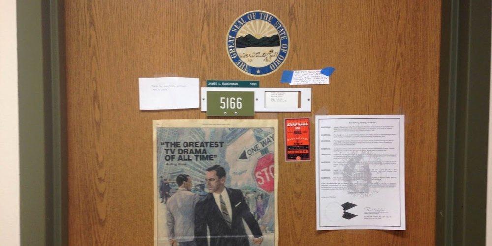 James Baughman's office door in Vilas Hall.