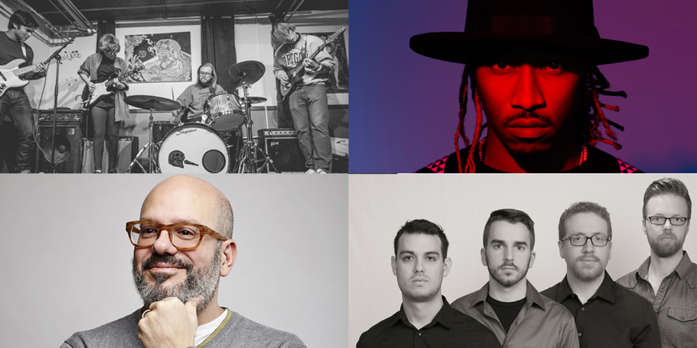 Clockwise from top left: Dash Hounds play February 12 at Mickey's Tavern, Future plays February 17 at the Orpheum, Clocks In Motion play February 13 at the Stoughton Opera House, and David Cross plays February 12 at the Orpheum.