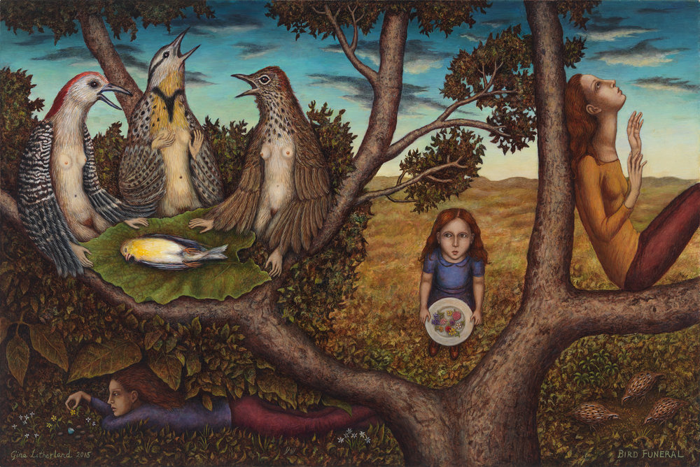 "Gina Litherland, ""Bird Funeral."" Images courtesy of Wisconsin Academy of Arts, Sciences, and Letters."