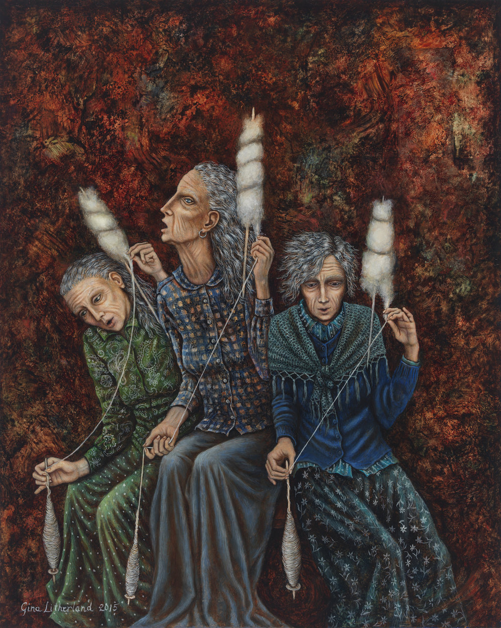 "Gina Litherland, ""Three Spinsters."""