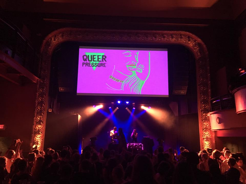 """Visuals by Sarah Akawa projected at Queer Pressure's """"Sweat"""" party at the Majestic in July."""