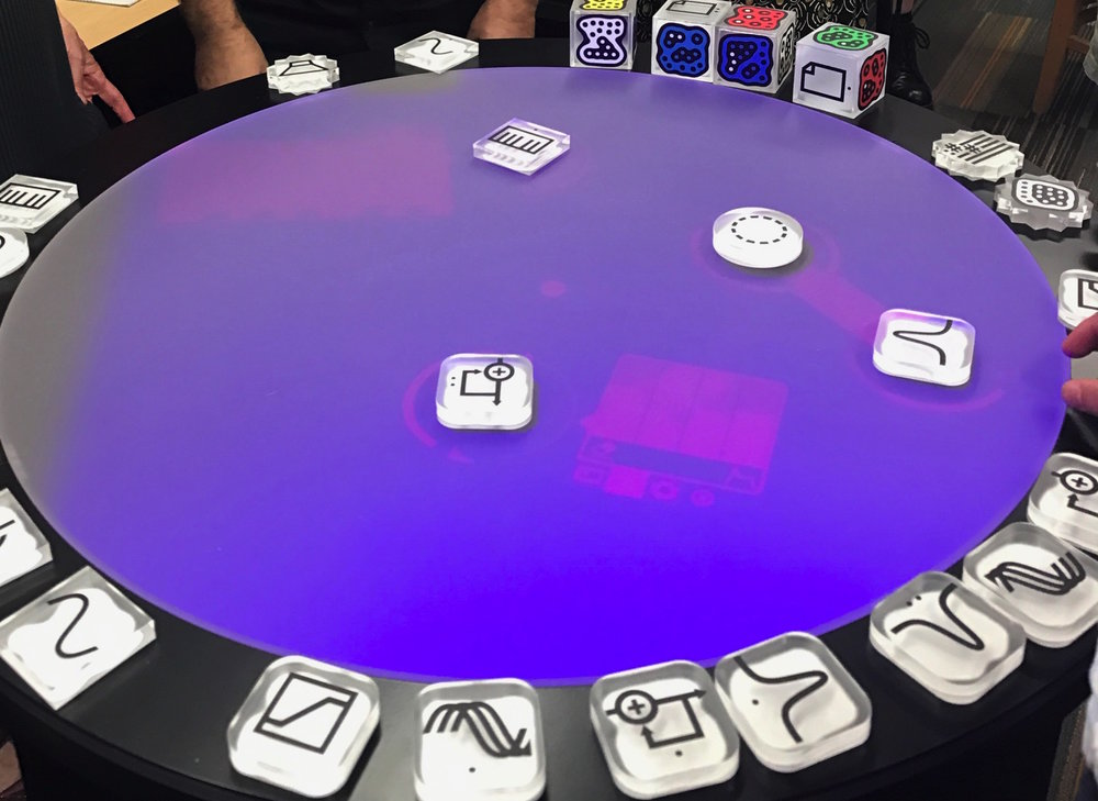 A Reactable, an interactive sound-design and music-making system, is among the high-end gear at EARS. Photo by Emili Earhart.