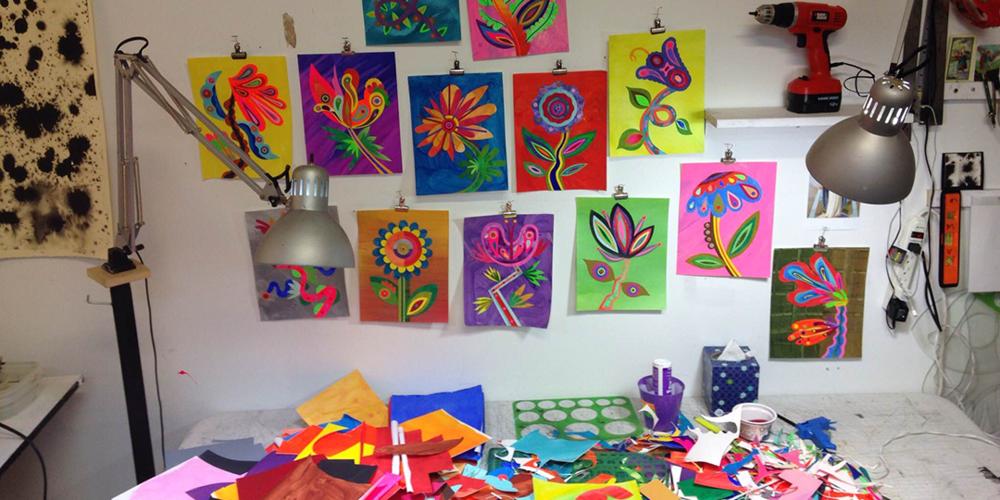Works in progress in Velliquette's studio.