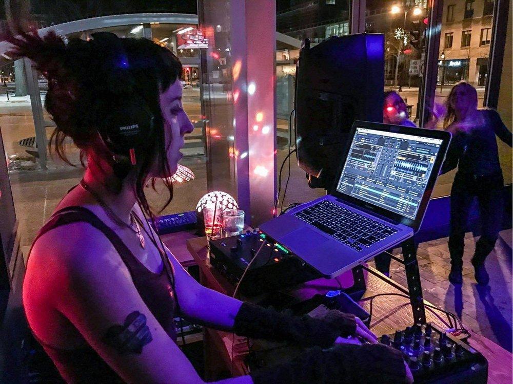DJ ellafine playing at Tavernakaya. Photo by Nathan Vergin.
