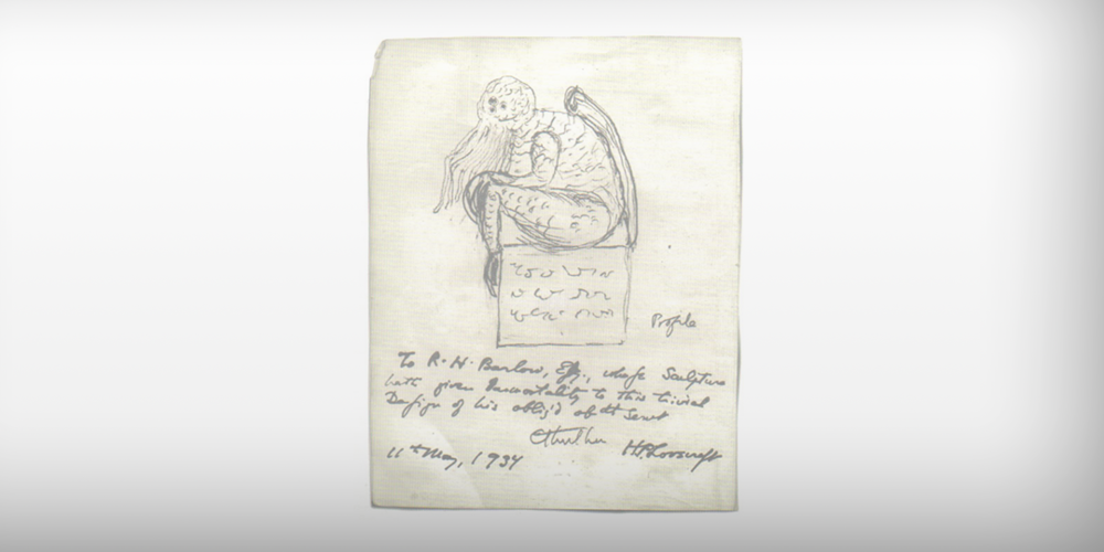 H.P. Lovecraft's 1934 sketch of his iconic character Cthulu.