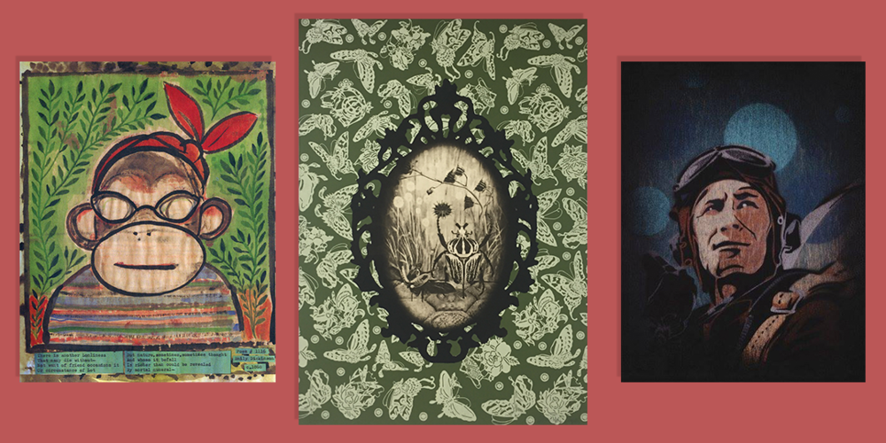 From left to right: Works by Lynda Barry, Jennifer Angus, and Rob Oman.