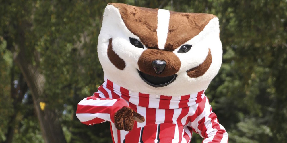 Bucky Badger in his annual ritual of leading all the culture out to the city limits, or something. Photo by Mark Riechers.