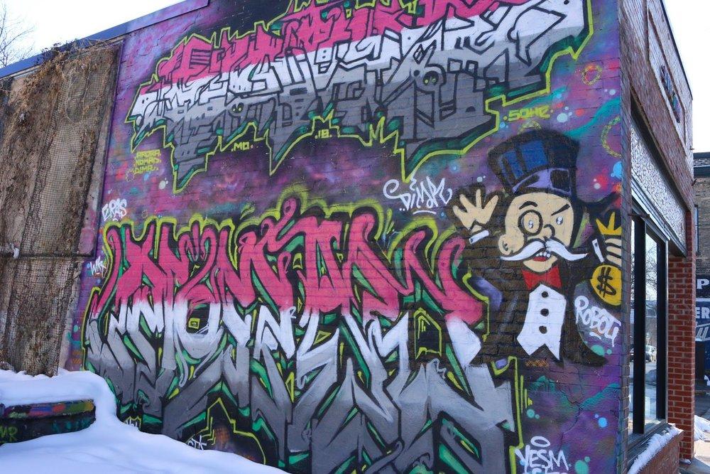 The graffiti wall at Mother Fool's.