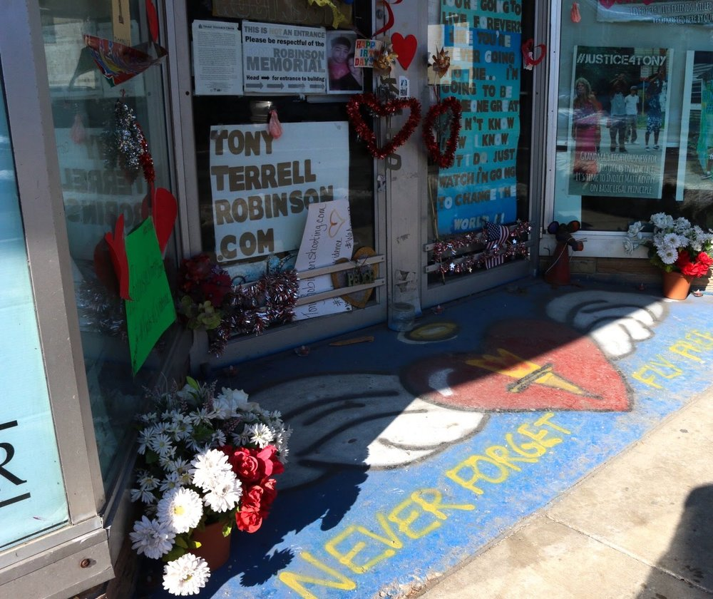 The Social Justice Center's Tony Robinson memorial on Williamson Street.