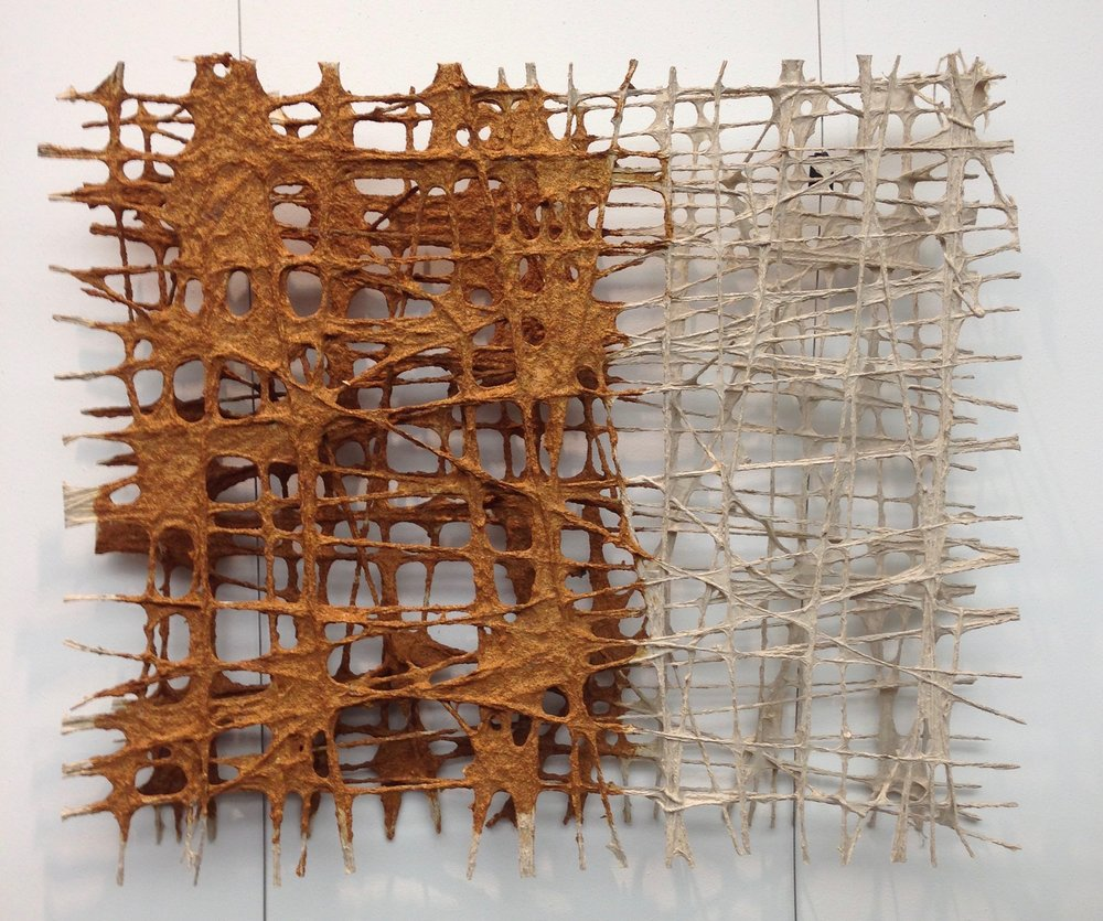 This sculpture by Hannah O'Hare Bennett is made of paper pulp, taking the material out of its familiar context.