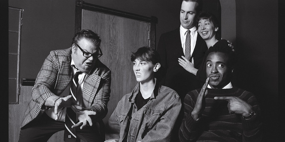 From left to right: Chris Farley, Jill Talley, Bob Odenkirk, Holly Wortell, and Tim Meadows, in their Second City days.