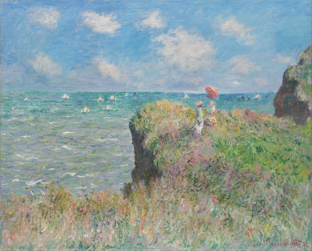 "Claude Monet, ""The Cliff Walk At Pourville."" Image via Wikimedia Commons."