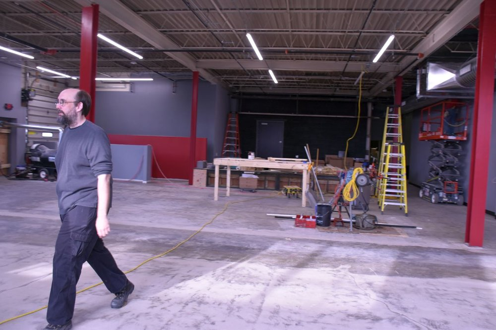 Gregory Kveberg surveys Crucible's dancefloor area, amid renovations.