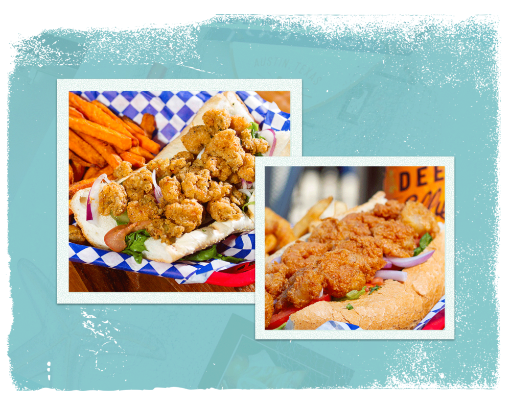 Po' Boys - (Served w/ lettuce, tomato, pickles, onions and creole mayo. Side of Sriracha coleslaw) | Choice of: Seasoned fries, sweet potato fries, or side caesar or tossed salad