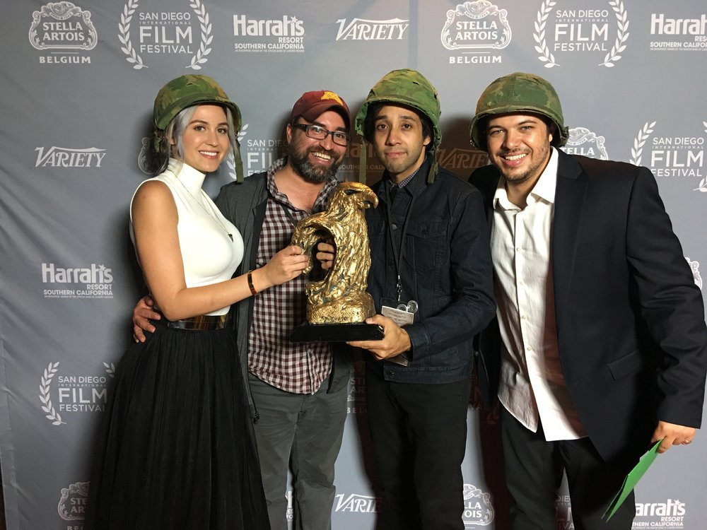 2016 San Diego International Film Festival Awards Ceremony. Mark Cartier with RAILWAY SPINE filmmakers Emily Trosclair, Samuel Gonzalez Jr., and Chris Lang.