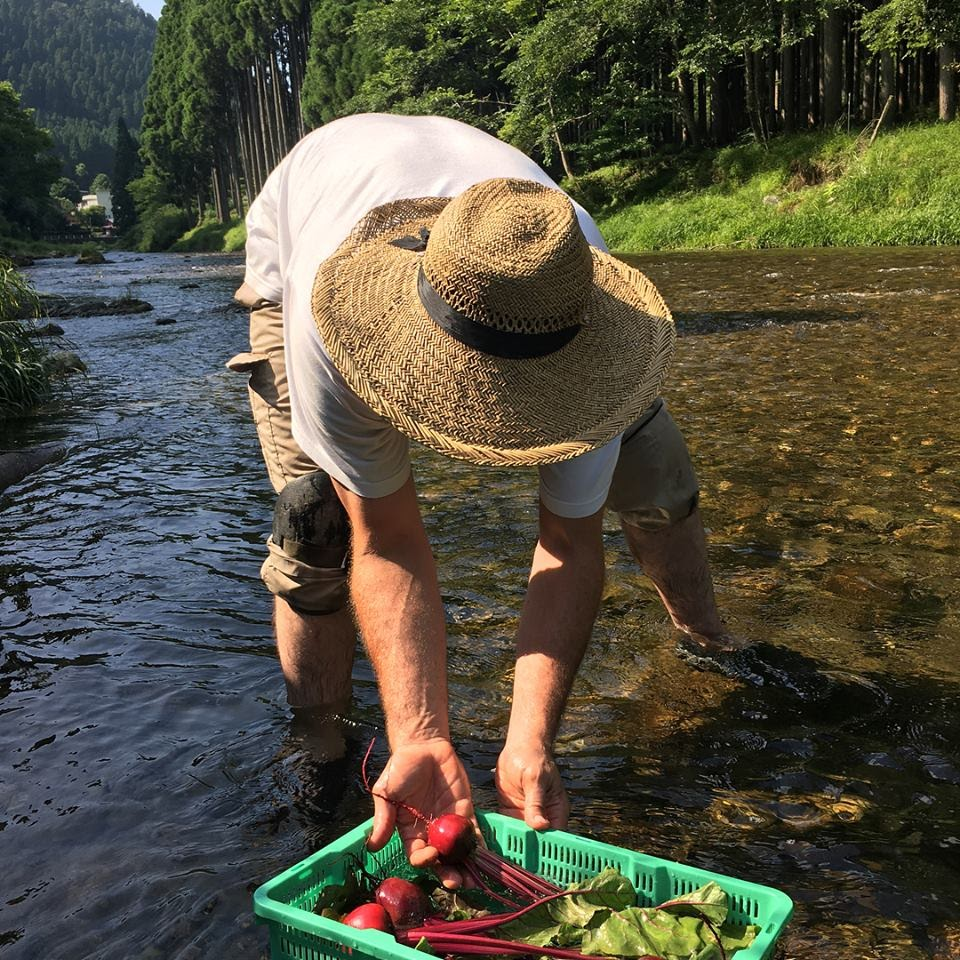 One of the great benefits to our farm is the proximity to this crystal clear river. We can wash our veggies and keep them fresh by submerging them in it. Using the river instead of a tap and cooler really helps cut down on water and power consumption!