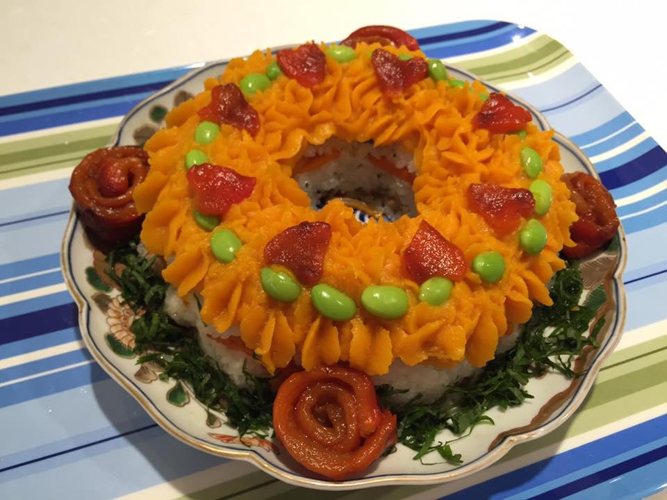 Sushi decoration cake with savoury pumpkin cream by Eri