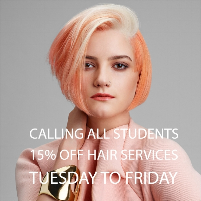 calling all students  Did you know we offer student discounts? Come in and experience people hairdressing's professional service & quality cut & colour.   The fine print   available Tuesday to Thursday  must produce valid student card  not available with directors  not available with any other discount or offer