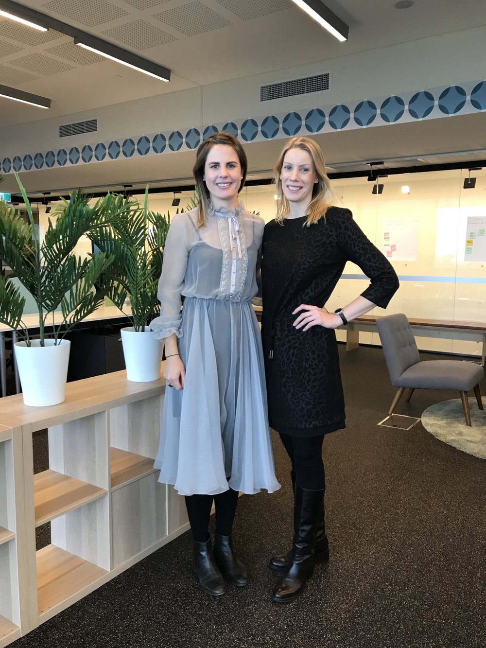 Harriet (left) with Alma & Bramble Co-founder Mathilde Bach Stougaard at 'Coterie9' the coworking space where they are working for the next three months as part of the Collider Accelerator.