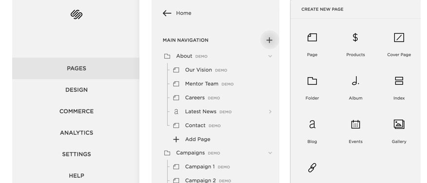 Select Pages → Click + icon → Choose Page