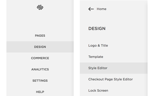 The Style Editor is located under the design section