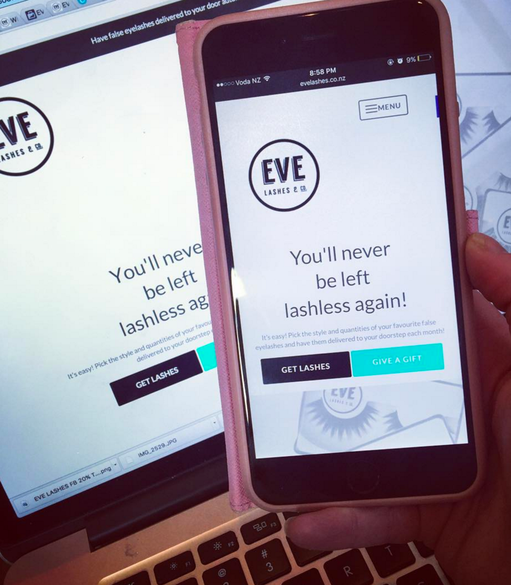 After many hours and a lot late nights - working with suppliers and building my own website through a subscription service platform I launch EVE Lashes V1.0 in January 2016 with four different lash styles you could choose from. This picture is of the very first website.