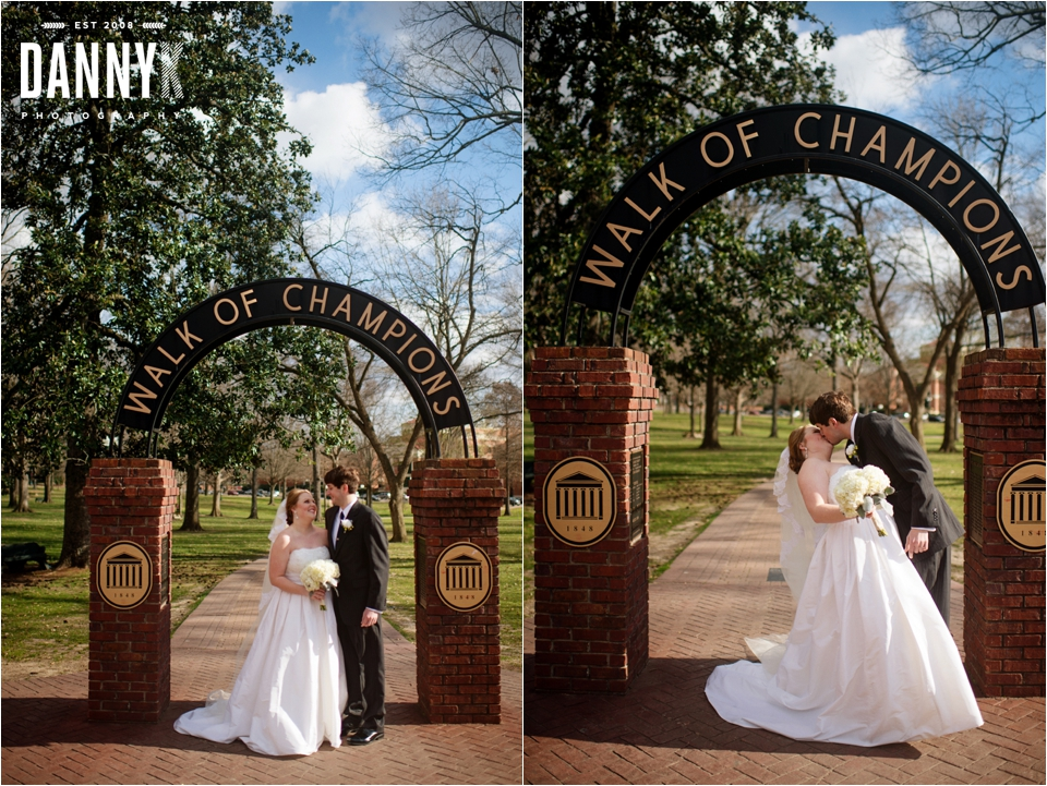 Wedding Photography of Emily Gasson and Josh Lawrence at the Walk of Champions on campus of Ole Miss