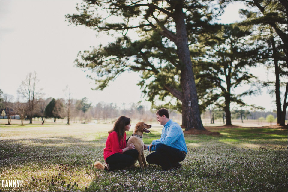An Oxford Mississippi engagement with their dog at Lamar Park and Patsy lake
