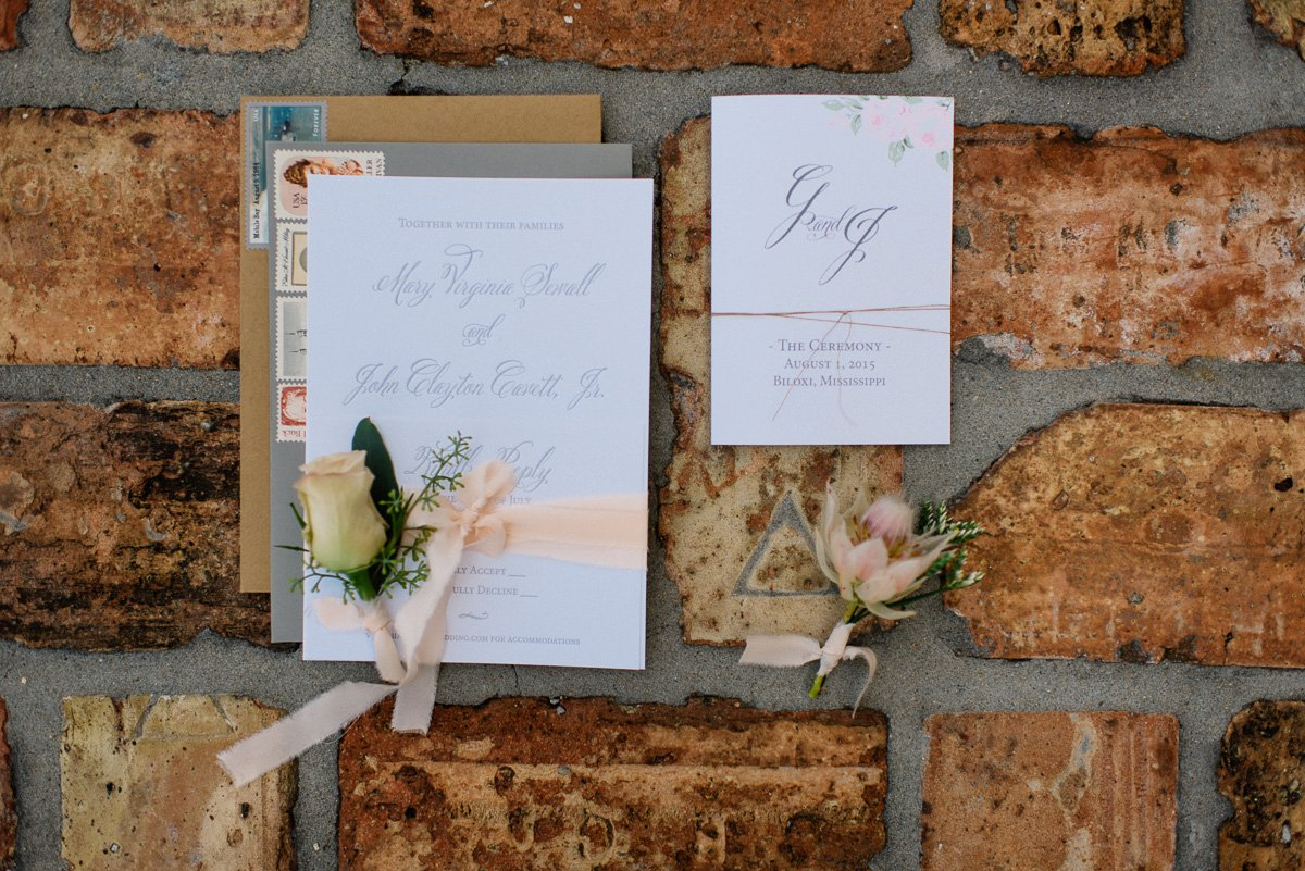 Wedding stationary and florals by Victoris Austin Designs in Biloxi Mississippi