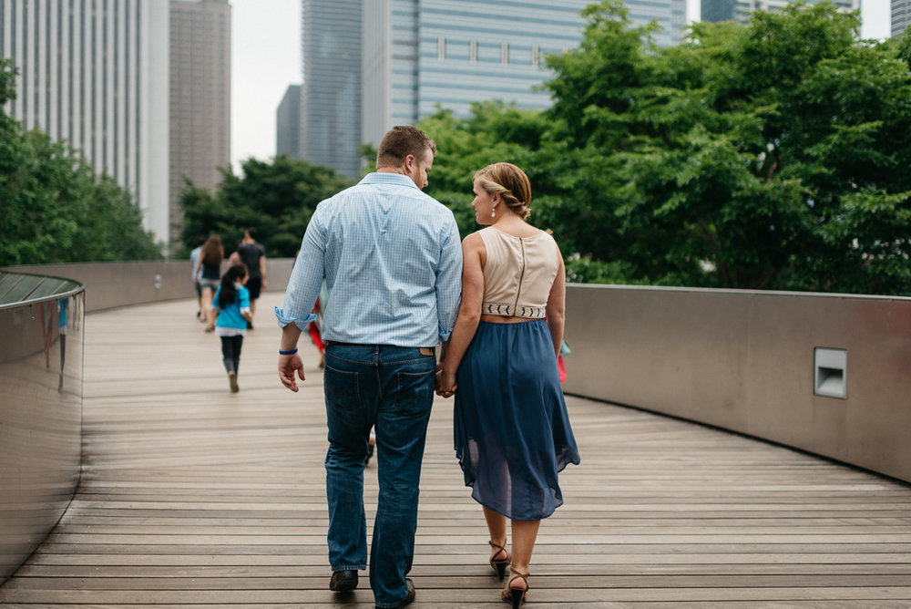 destination Engagement photography at millineum park bridge in Chicago