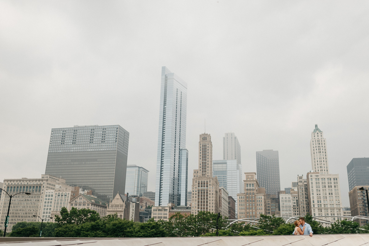 destination Engagement photography at millineum park bridge in Chicago
