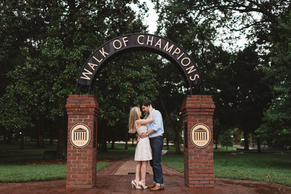 Mississippi engagement photography on the ole miss campus