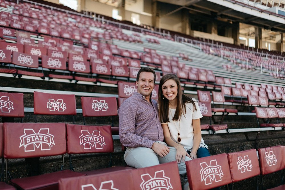 engagement photography at davis wade stadium on mississippi state campus in starkville