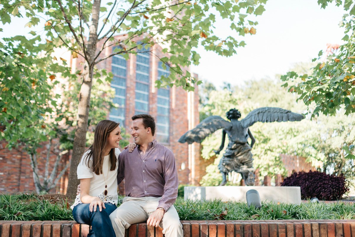 engagement photography on mississippi state campus in starkville