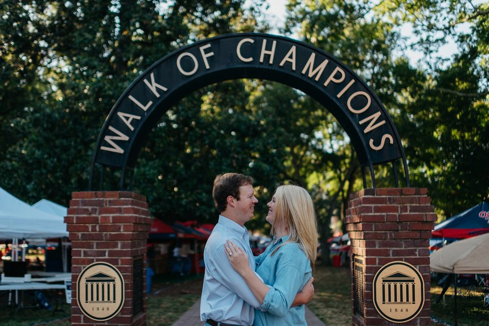 Gameday engagement photography at the walk of champions at the university of mississippi