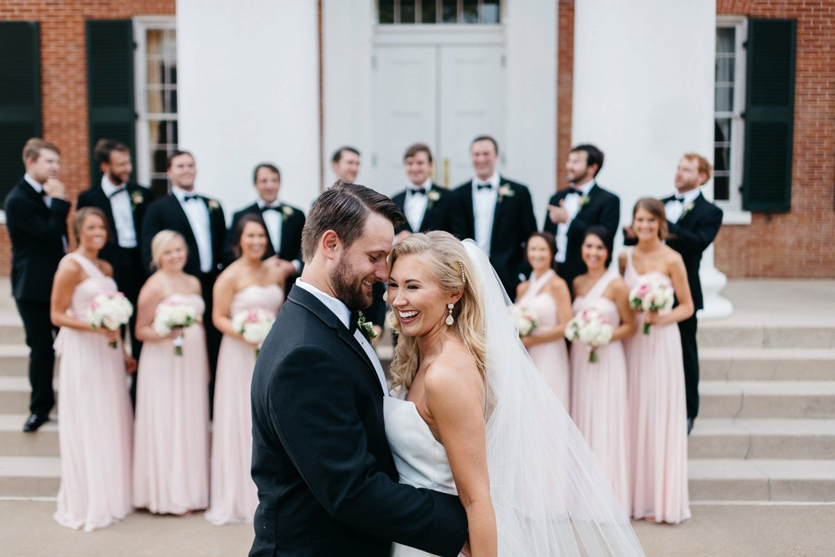 bridal party wedding photography at lyceum on university campus