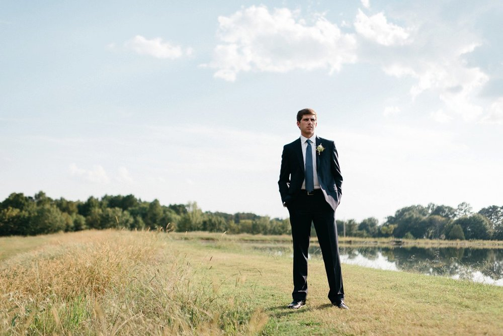 groom wedding day portraits at southwind venue, mississippi wedding photography
