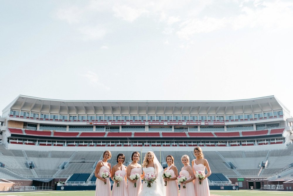 bridal wedding photography at  vaught hemingway  football stadium on ole miss campus