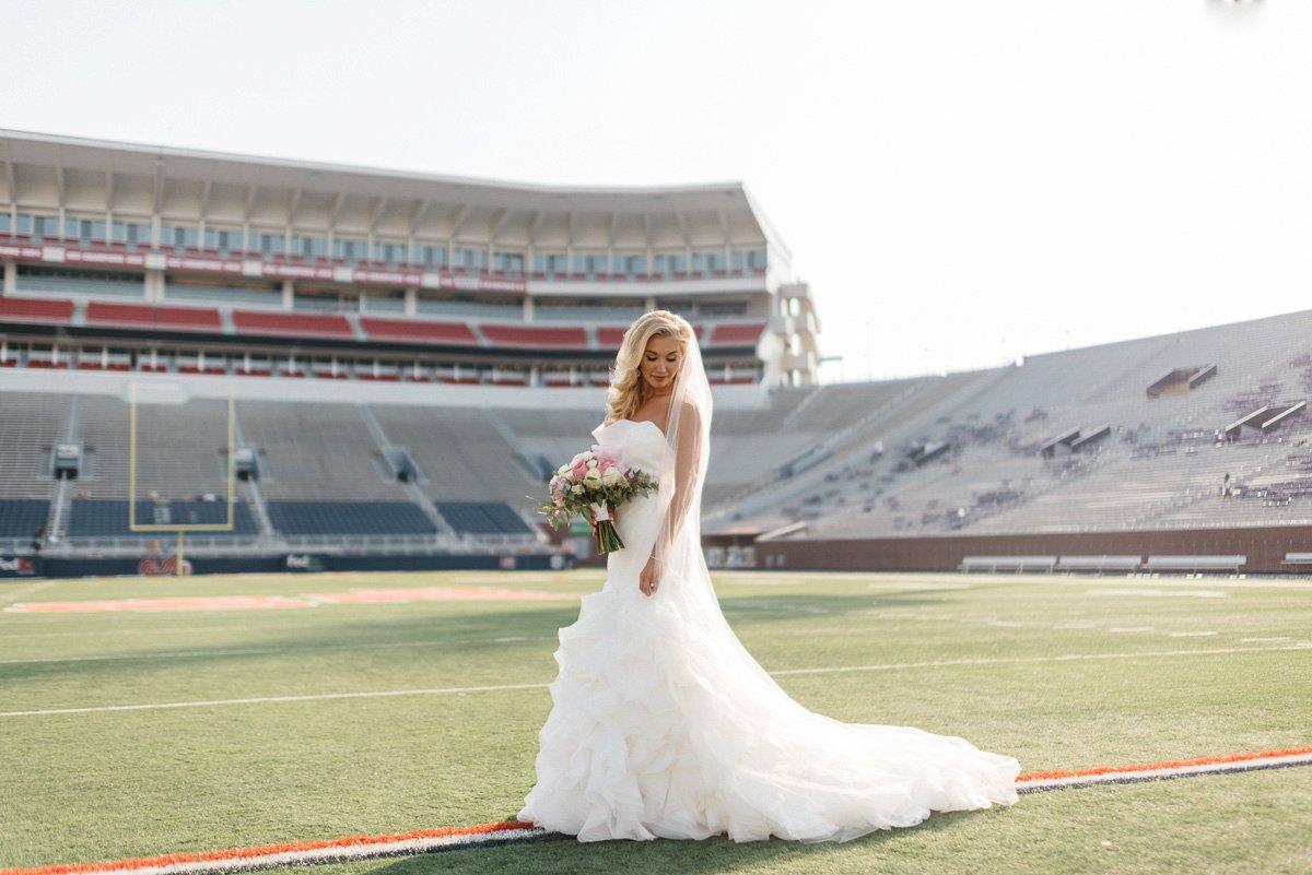 bridal wedding photography at  vaught hemingway  football stadium on ole miss campus