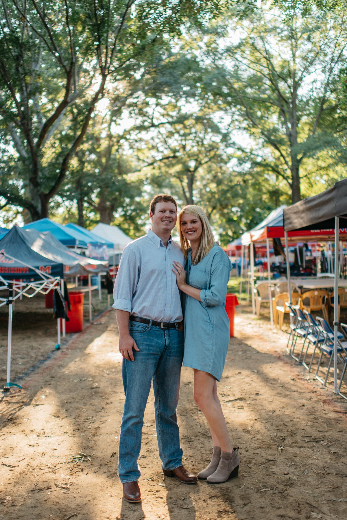 Gameday engagement photography in the grove at the university of mississippi