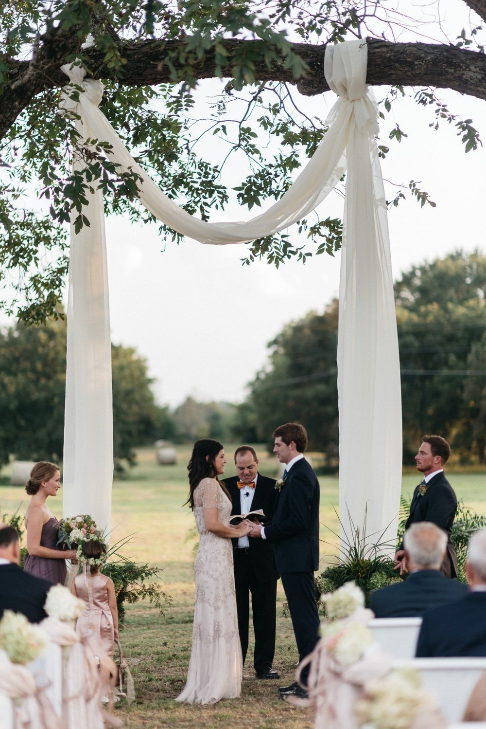 wedding day ceremony outside at southwind venue, mississippi wedding photography