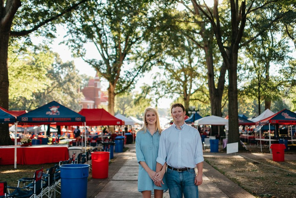 Gameday engagement photography in the circle at the university of mississippi